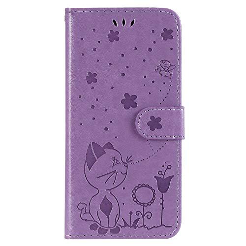 The Grafu Hülle für Huawei P20, PU Leder Stoßfest Klapphülle Handyhülle für Huawei P20, Brieftasche Schutzhülle mit Kartenfach, Violett