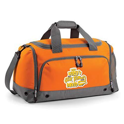 Getagift Personalised worlds best godfather ANY NAME Birthday Presents for God uncles/Baptism Gift present Holdall shoulder Bag. (Orange)