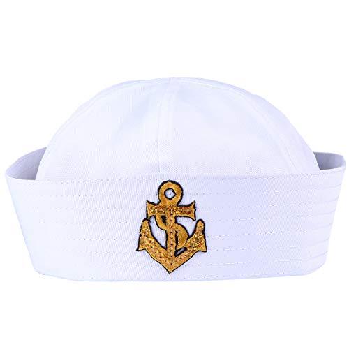 Amosfun Matrosenmütze Marinemütze Sailor Seemann Hut Marine Kappe Kapitän Hut Matrosen Mütze Pilotenmütze für Kinder Erwachsene Karneval Seefahrer Kostüm Kopfbedeckung 58cm