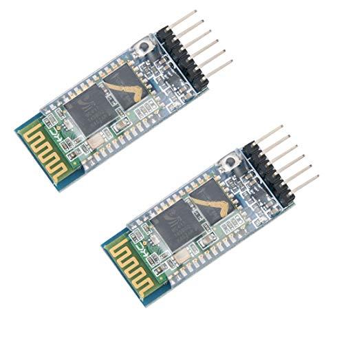 HiLetgo 2pcs HC-05 Wireless Bluetooth RF Transceiver Master Slave Integrated Bluetooth Module 6 Pin Wireless Serial Port Communication BT Module for Arduino