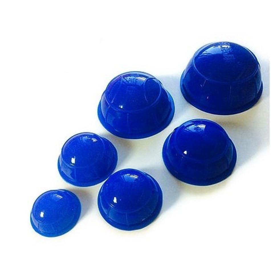 デモンストレーション不透明な美容師簡易 吸い玉6個セット ブルー 大中小5種類の大きさ
