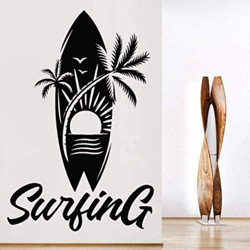 Etiqueta de la pared PVC removible etiqueta de la pared tabla de surf Palm Beach etiqueta de la pared 63x42cm
