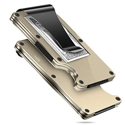 MUCO Tarjeteros para Tarjetas de Credito Tarjetero Hombre de Aluminio para la aviación Mini tarjetero metalico para 10- 12 Tarjetas cartera tarjetero hombre en Protección RFID Resistente a los arañazos