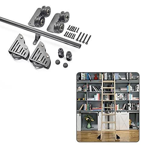 DTDMY Hardware de Biblioteca Deslizante Riel rodante (sin Escalera) Kit de 3,3 a 20 pies,Tubo Redondo de Acero Inoxidable Hardware de Biblioteca Deslizante Juego Completo de riel rodante