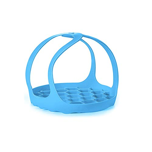Pressure Cooker Sling, Anti-scalding Bakeware Sling, BPA-Free Silicone Egg Steamer Rack, Silicone Sling for 6Qt/8Qt or 3Qt Instant Pot (Blue, 3Qt)