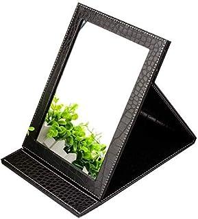 Mirror Desktop Makeup Folding Desktop HD Portable Mirror PU Leather Buffer Cover Faux Leather Frame - Rectangular Makeup Mirror (Color : A Black) (Color : White) (Color : A Black)