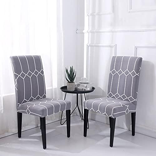 ZZUU 1/2/4/6 pcs Universal Stretch Stuhlhussen,Moderne Jacquard Husse Sitz Stuhl Esszimmer überzug,Abnehmbare Stuhlbezug - Stuhlabdeckung waschbar & bügelfrei,Eine Vielzahl von Stilen