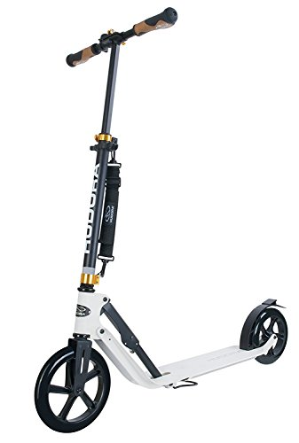 HUDORA 230 Adult Scooters Folding Height Adjustable Kick Scooter Aluminum for Outdoor use (White)