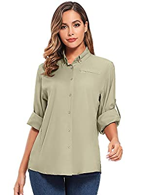 Women's Quick Dry Sun UV Protection Convertible Long Sleeve Shirts for Hiking Camping Fishing Sailing (5024 Khaki, X-Large)