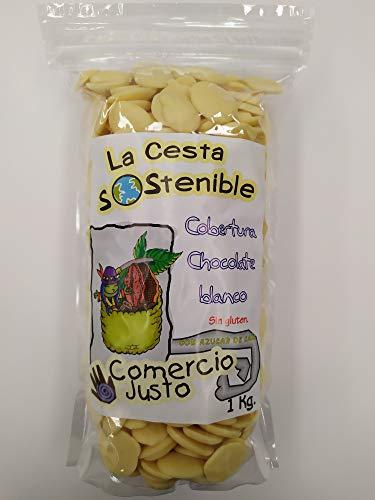 2 UNIDADES DE 1KG DE COBERTURA DE CHOCOLATE BLANCO DE COMERCIO JUSTO(FAIR TRADE) LA CESTA SOSTENIBLE.