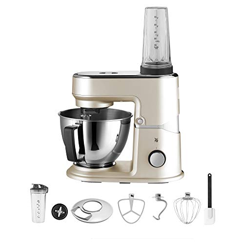 WMF Küchenminis Edition Mini-Küchenmaschine, platzsparend, Mixer für Smoothies, 3l-Schüssel, Softanlauf, Planeten-Rührwerk, 8-stufige Knetmaschine, 3 Rührwerkzeuge, 430W, edelstahl matt, beige