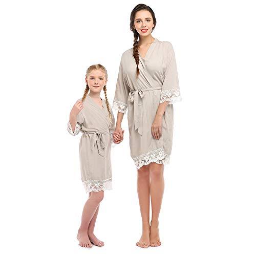 Albornoz de Encaje de algodón para Mujer, Pijama de Seda