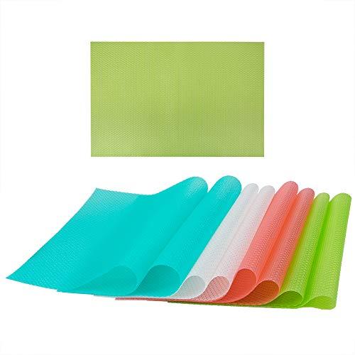 8 piezas Alfombrillas Revestimientos de estante, Sonku EVA lavable Se puede cortar Almohadillas de refrigerador Alfombrillas de...