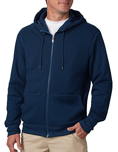 Model showing mens travel hoodie with hidden pockets.