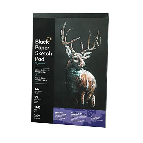 Bloc de dibujo negro de 25 hojas, cuaderno de bocetos A4, papel de dibujo para artistas, bloc de dibujo para colorear, bocetos, cartón para niños, adultos principiantes