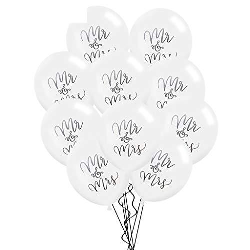 Tumao 10 Stück Mr.& Mrs Latexballon Konfetti Luftballons, Ideal für Hochzeit, Junggesellinnen-Abschied, Hen Party, Hochzeits-Deko. (Roségold) - 2