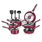 NutriChef 13 Pcs. Nonstick Kitchen Cookware PTFE/PFOA/PFOS-Free Heat Resistant Kitchenware Set w/Saucepan, Frying Pans, Cooking Pots, Casserole, Lids, & Utensils, Red NCCWA13RD