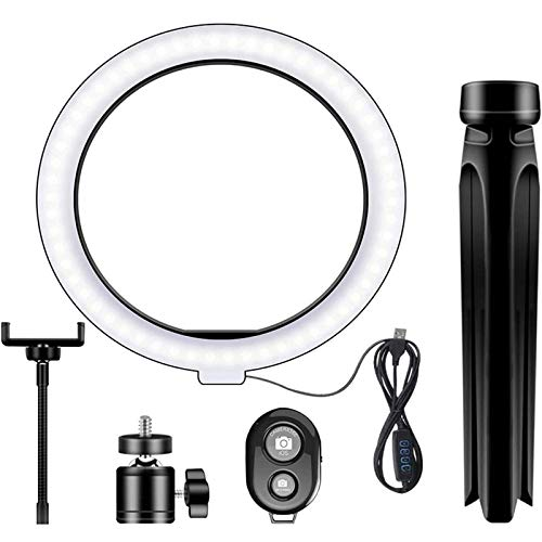 Lixada 10.2IN LED Ring Light Fill Light Dimmable Photography Ring Fill Light with Tripod Stand & Cell Phone Holder Selfie Ring Light with Phone BT Remote USB Powered for Live Stream/Makeup