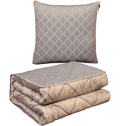 JIAHU 1 x doppeltes Kissen, Steppdecke, Zubehör, Decke, Stoff, für Reisen und draußen.