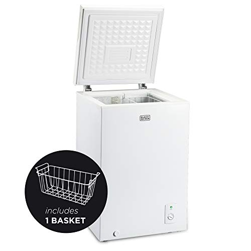 BLACK+DECKER 3.5 Cu. Ft. Chest Freezer, Holds up to 122 Lbs. of Frozen Food with Organizer Basket, BCFK356