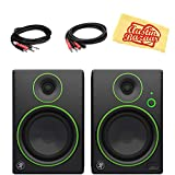 Mackie CR5 5-Inch Multimedia Monitors with Bluetooth Bundle with 2 Monitors, Stereo Breakout Cable, 1/4'-to-RCA Cable, and Austin Bazaar Polishing Cloth