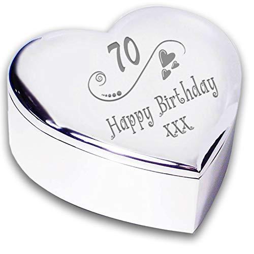 Chris Bag Of Goodies 70th 70 Seventeeth Happy Birthday Heart Shaped Trinket Box Keepsakes Gifts Ideas For Her Women Ladies