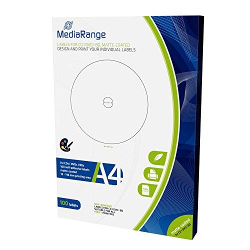 MediaRange Etiketten für CD DVD BD, 15-118mm, matt-beschichtet, 100er Pack