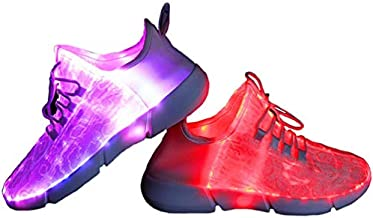 HotDingding Fiber Optic LED Shoes for Women Men Kids Light Up Sneakers for Boy Girl USB Charging Flashing Luminous Trainers Shoes(Toddler/Kids/Adult) White