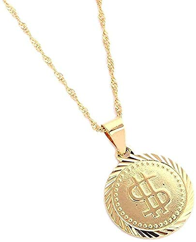 LBBYMX Co.,ltd Collar de Moda de Rock Hip Hop, Collar de dólar Estadounidense, símbolo de Dinero, Signo de Mujer, Colgante Redondo, Collar, joyería