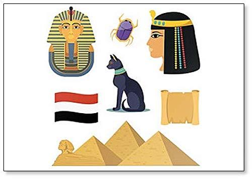 Imán para nevera con ilustración de símbolos y dibujos egipcios famosos