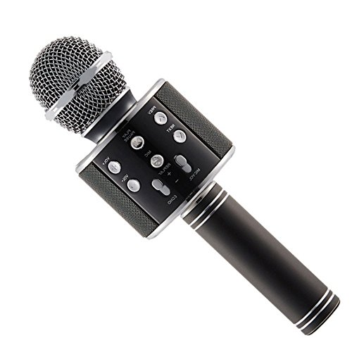 Loopan Wireless Bluetooth WS-858 Microphone MIC Recording Condenser Handheld Microphone Stand W/Speaker for Cellphone Karaoke (Color May Vary)