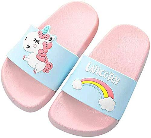 HommyFine Enfants Chaussons Licorne Pantoufles de Bain Plates Chaussures de Piscine et de Plage Antidérapant pour garçons et Filles (Rose, 30)