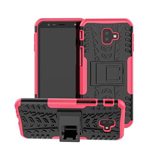 Capa para celular Galaxy J6 Plus DWaybox híbrida resistente armadura dura com suporte para Samsung Galaxy J6 Plus/J6 Prime 2018/J4 Plus/J4 Prime 2018 6,0 polegadas (rosa choque)