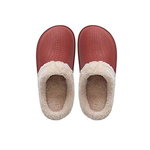 YLL Zapatillas Impermeables de Las Mujeres Inferior Grueso Zapatillas Peludo Zapatillas Calientes de Interior casero algodón Zapatillas de Goma PU Zapatillas (Color : C, Size : 37-38 EU)