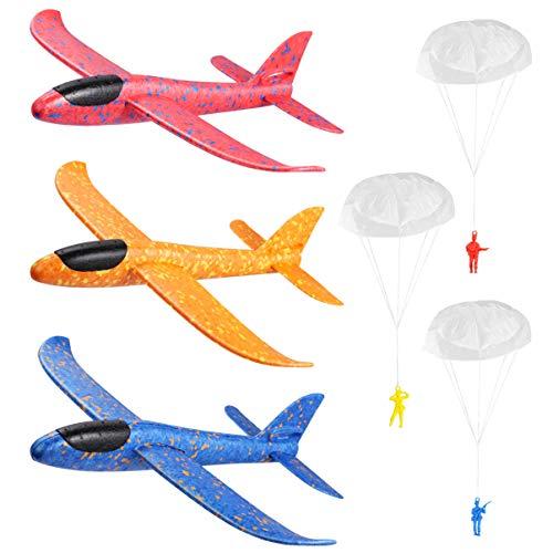 Toyvian 3 Stück Segelflugzeuge 37cm Wurfschaum Flugzeug mit 3 Fallschirmjägern Schaum Leichtflugzeug Fliegen Modell Spielzeug für Kinder