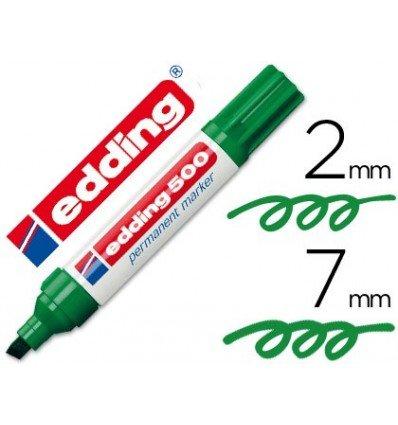 Edding pennarello indelebile 500Verde–Punta a Scalpello 7mm (10pezzi)