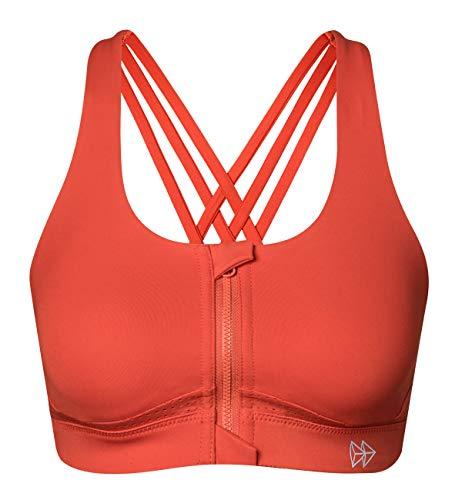 Yvette Strappy Zip Front Sports Bra High Impact Workout Bra for Running Spinning Dancing Women, Orange, L(AC)