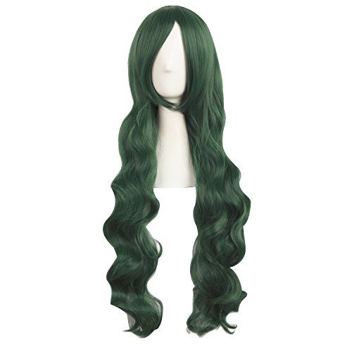 MapofBeauty 80cm Green Long Hair Curly Cosplay Costume Wig