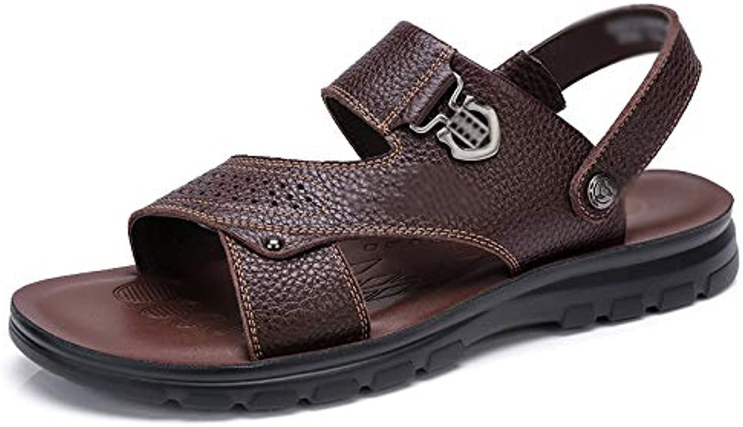 Wthfwm Sandals for Men Men's Open Toe Slipper Slip On Style Genuine Leather Ankle Strap Sandals Outdoor Sports Beach shoes adjustable buckle