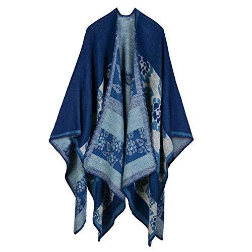 KINMB Echarpes Foulards Scarf Longue Cape épaisse et Chaude, Foulard décoratif Chaud, Bleu foncé