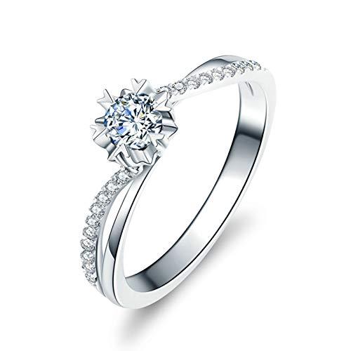 Daesar Anillo Compromiso Platino y Diamante,Anillos Mujer Plata Compromiso Flor con Corazón Redondo 0.4ct Diamante Blanco 0.07ct Anillo Talla 25