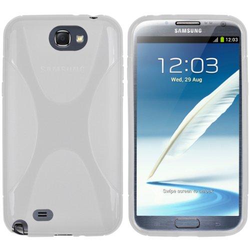 Mumbi - Custodia in silicone e X-TPU per Samsung Galaxy Note 2, Bianco trasparente
