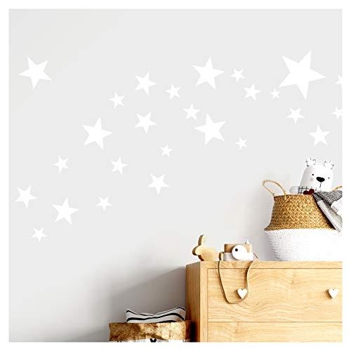 Little Deco DL409 - Adhesivo decorativo para pared (60 estrellas, varios colores, autoadhesivo), diseño de estrellas, color blanco