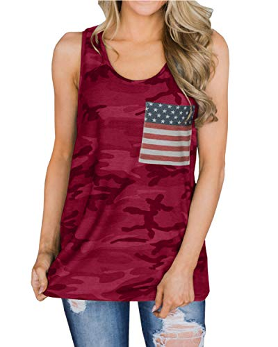 Barlver Women's American Flag Tank Tops 4th of July Camo Tee Loose Sleeveless Tunic Patriotic USA T Shirts