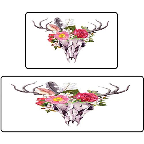 Antler Decor Rug Shoes Mat Deer Animal Skull with Flowers and Feathers Vintage Style Watercolor Artwork 17'x48'+17'x24' Door Mat for Kitchen Farmhouse Bathroom Entryway Carpet