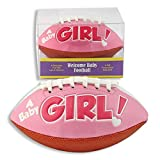 'IT'S A GIRL' FOOTBALL -BIRTH ANNOUNCEMENT/Keepsake/GIFT/Pink - INCLUDES DISPLAY BOX/Shower/CHRISTENING/NEW BABY GIFT 5' INCLUDES Plastic DISPLAY Box