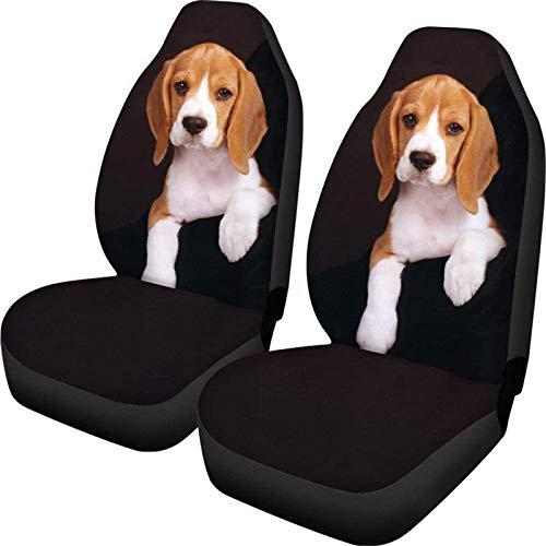 SEANATIVE Car Seat Cover Set di 2 Frontali Cushion Dog Print Anti-Slip Cloth Fabric Seat Cover Vehicle Protectors