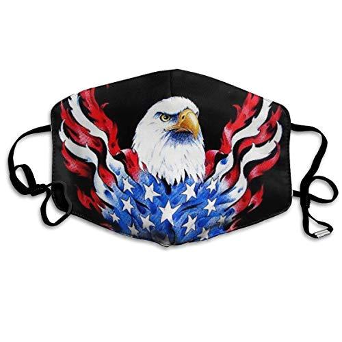 Mundschutz Amerikanische Flagge und Weißkopfseeadler Patriotische schwarz Bedruckte Gesichtsdekorationen für Frauen und Männer