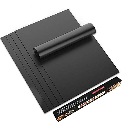 TDOYO Grill Mat, Non Stick BBQ Mats, Gas Charcoal Electric Grilling Accessories, Best for Outdoor Barbecue Baking and Oven Liner, Easy to Clean/Reusable, Set of 5,5 pcs