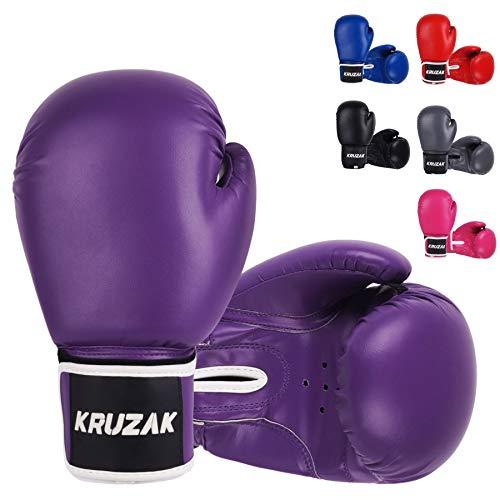 Kruzak Plain Boxing Gloves for Sparring, Kickboxing, Muay Thai, Martial Arts & MMA Fighting - Men &...
